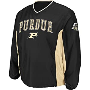 NCAA Purdue Boilermakers Mens Slider Coaches Long Sleeve Pullover Jacket, Black by Colosseum