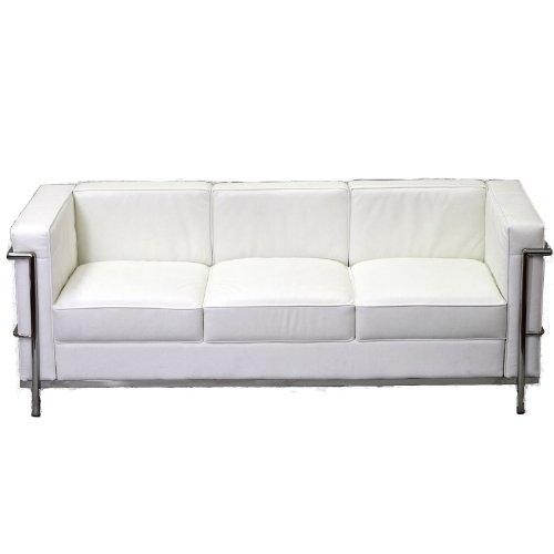 LexMod Le Corbusier Style LC2 Sofa in Genuine White Leather