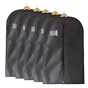 "Fu Global Garment Bag Covers for Luggage, Dresses, Linens, Storage or Travel 42"" Suit Bag with Clear Window Pack of 5"
