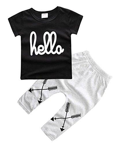 OUCHI Unisex Newborn Baby Short Sleeve Shirt Pants 2Pcs Cotton Clothing Set SKSKW207-black