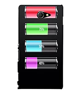 MULTICOLOURED BATTERY INDICATORS WITH A BLACK BACKGROUND 3D Hard Polycarbonate Designer Back Case Cover for Sony Xperia M2 Dual D2302 :: Sony Xperia M2
