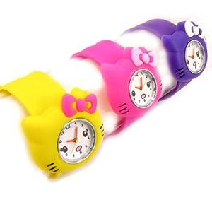 3 slap watches 'Hello Kitty'yellow pink purple.
