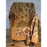 Gold Decorative Sofa Throw 150cm x 180cm approx. The design in the central panel is lifted by the use of a chenille...