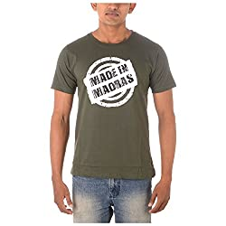 Chennai Gaga Men's Round Neck Cotton T-shirt Made In Madras 112-3-804-Khaki-S
