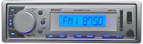 Enrock EKMR20SL Aqua Series Marine In-Dash Receiver with AM/FM Radio and AUX Input for iPod/MP3 Players and SD/USB Flash Readers (Silver)
