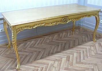 Table baroque en or rectangulaire style antique Louis XV AlTa0690Go