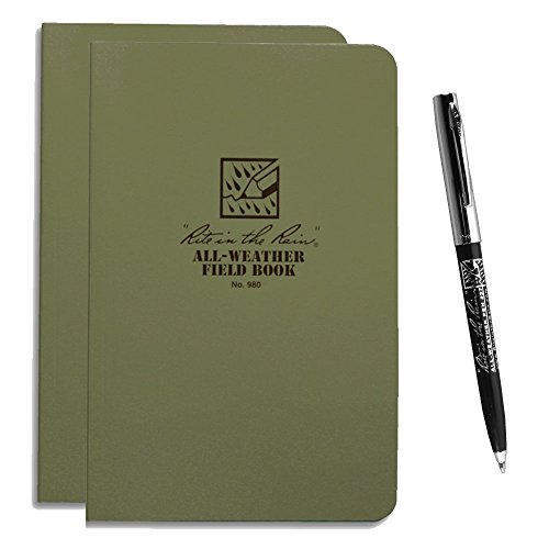 Rite in the Rain 980 (2) All-Weather Green Field-Flex Books with All-Weather Pen (Right In The Rain Notebook compare prices)