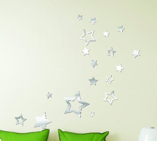 Toprate(TM) Creative Stars Star Modern Stylish Fashion Art Design Removable DIY Acrylic 3D Mirror Wall Decal Wall Sticker for Nursery Children's Bedroom Room Home Decoration - 1