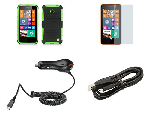 Nokia Lumia 635 (At&T, T-Mobile) / Nokia Lumia 630 (Cricket) - Black And Neon Green Pathfinder Dual Hybrid Armor Case + Atom Led Keychain Light + Screen Protector + Micro Usb Cable + Car Charger