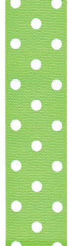 Offray Polka Dot Grosgrain Craft Ribbon, 1-1/2-Inch Wide by 50-Yard Spool, Lime Green
