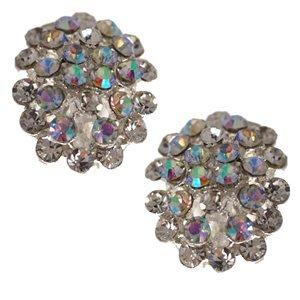 Odelette Silver Aurora Borealis Crystal Clip On Earrings