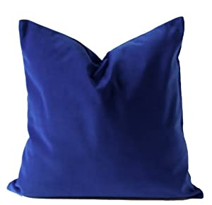 Amazon.com - Royal Blue Cotton Velvet Decorative Throw Pillow Cover - 18x18 Inches (46x46 Cm ...