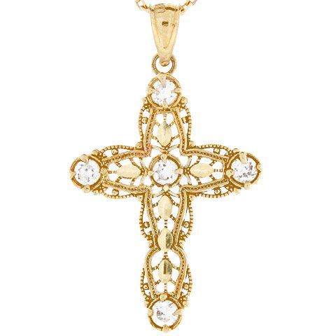 10k Gold Diamond Cut Religious Christian Filigree CZ Cross Pendant