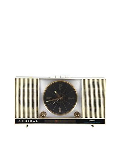 1940s Vintage Admiral Dual Speaker Alarm Clock/Radio, Ivory/Black/Gold