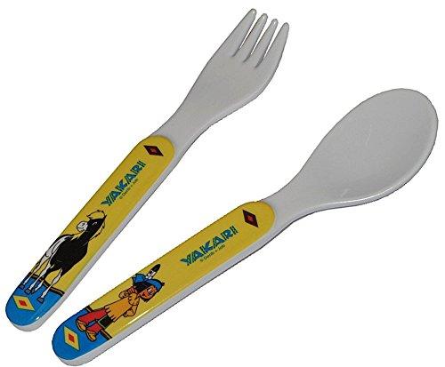 2-tlg-Set-Yakari-kleiner-Donner-Besteckset-aus-Kunststoff-Melamin-Gabel-Lffel-Besteck-Kinderbesteck-Indianer-Plastik-fr-Kinder-Esslernbesteck-Babybesteck