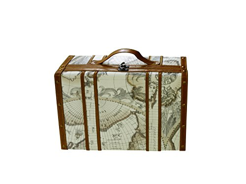 Large Wine Travel Carrying Case with Handle Antique Old World Map Luggage Design Secure Padding Holds and Includes 2 Wine Glasses and 4 Accessories Wine Lover's Dream Gift Set