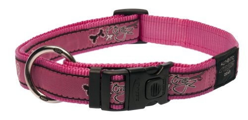 Rogz Fancy Dress Extra Large 1-Inch Armed Response Dog Collar, Pink Bone Design