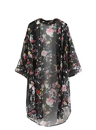 bluetime-womens-3-4-sleeve-floral-high-low-chiffon-kimono-cardigan-blouse-m-black
