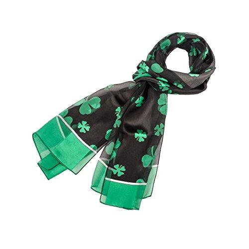 [Purple Box Jewelry Shamrock Scarf One Size (Black with Green Border)] (St Patricks Day Shamrocks)