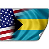 Sticker (Decal) with Flag of Bahamas and USA (Bahamian)