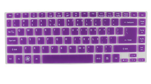 Semi-Purple High Quality Silicone Keyboard Protector Skin Cover For Acer Aspire R7-571,R7-571G, R7-572, E1-470P, M5-481T, M5-481Pt, V5-431, V5-471, V5-471G, V5-471P, V3-471, V3-471G, V5-472, 4830, 4830T, As4830T, 3830, 3830T, As3830T Series Us Layout (If