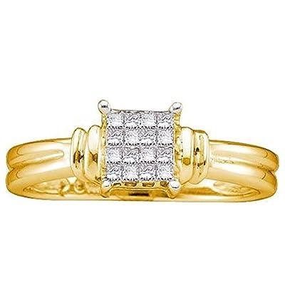0.16 Carat (ctw) 14K Yellow Gold Princess Cut White Diamond Ladies Invisible Engagement Ring