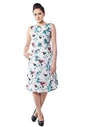 iamme Cotton Printed Knee Length Dress on white base and flared base.