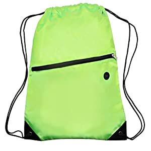 Sports Drawstring Backpack Book Tote Bag with Front Zipper, Lightweight, Durable, Lime Green by BAGS FOR LESSTM