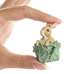 Set of 6 Miniature Resin Bunny in Cabbage Head Figurines - Easter Table Favor Decorations ...
