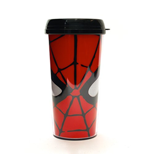 Silver Buffalo MC7087G Marvel Spiderman Eyes Glitter BPA-Free Plastic Travel Mug, 16 oz., Red