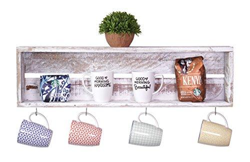 DAKODA LOVE - Rustic Coffee Bar Floating Shelf, USA Handmade Reclaimed Wood (White) (Coffee Bar Storage compare prices)