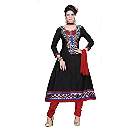 Parabdhani Fashion Women's Cotton Semi Stitched Suit (PBF_DM_130_Black_Free Size)