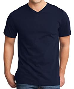 Yoga Clothing For You Mens Modern 100% Cotton V-neck Tee, XL Navy