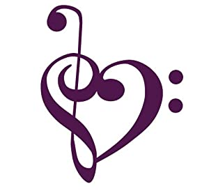 Bass and Treble clef heart Decal Sticker - Size:4.0 x 3.2 inches - Color:Purple