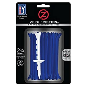 Zero Friction Tour 3-Prong Golf Tees (2-3/4 Inch, Blue, Pack of 40)