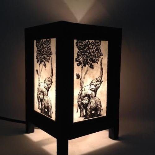 Vintage-Tropical-Table-Wood-Lamp-Shade-Elephant-Lighting-Bedroom-Lodge-Decor