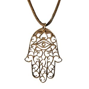 Small Hamsa peace bronze Pendant Necklace on adjustable natural fiber cord