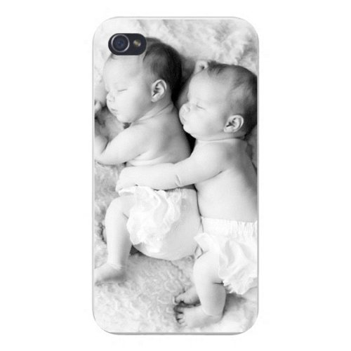 Apple Iphone Custom Case 5 5S Snap On - Cute Black & White Newborn Infant Babies Sleeping Cuddling front-1070128