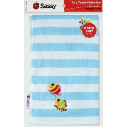 Sassy フェイスタオル 【名入れ刺繍対応】 (ギフトラッピング, ツインフィッシュブルー)