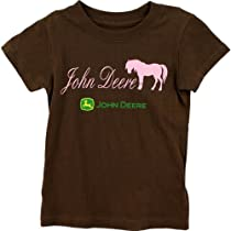 "John Deere ""JD Horse"" Brown Girls T-Shirt (L(6X))"