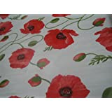 2 METRES TRADITIONAL POPPY FLOWERS FLORAL POPPY RED PVC PLASTIC TABLE CLOTH PROTECTOR OIL / VINYL CLOTH GREEN STEAMS ON WHITE GROUND