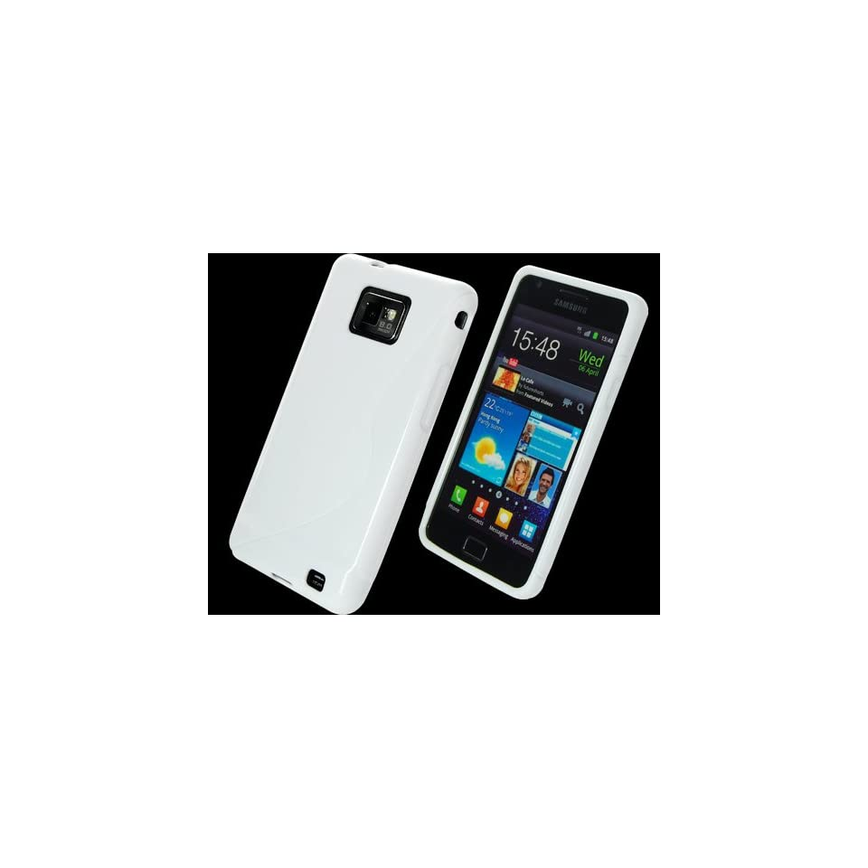 White S Wave TPU Silicone Skin Case Cover for Samsung