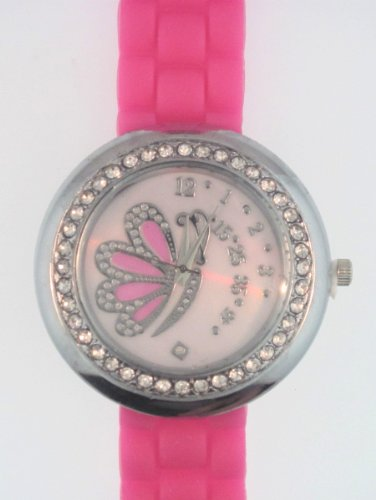 Hot Pink Silicone Rubber Watch Link Look Ceramic Style Large Mother-Of-Pearl Butterfly Face Crystal Bezel