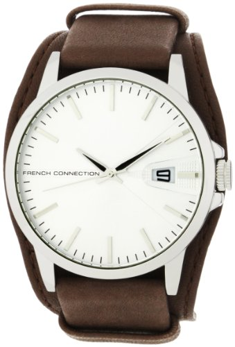 French Connection Men's FC1067ASWBN Sporty Brown Leather Strap Round Case Watch