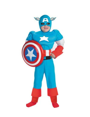 Kids-Costume Captain America Dlx Muscle 4 6 Halloween Costume - Child 4-6