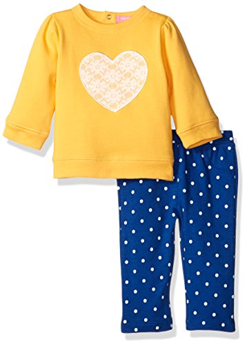 Isaac Mizrahi Girls' 2pc Fleece Top and Legging Set, White Lace/Sunflower, 12 Months (Fleece Baby Pants compare prices)