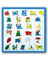 12 Mouchoirs Imprimés avec Alphabet pour Enfants 100% coton