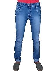 SNJ Men's Slim Fit Mid Rise Pure Cotton Lycra Carbon Shade Denim (SU202 J (D))