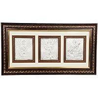 Silverwala 999 Pure Silver Ganesha, Laxmi And Saraswathi Wodden Photo Frame (Silver, 27.5*45)