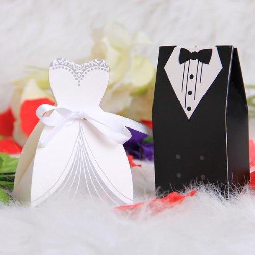 100 x Boîte Box en Papier Bonbons Sucre Cadeau Mariage Fête + 50pcs Ruban